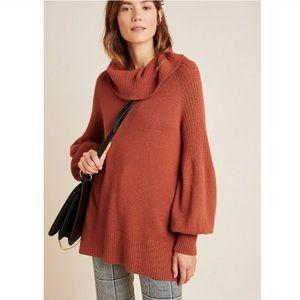 Anthropologie Paloma Burnt Orange Cowl Sweater S